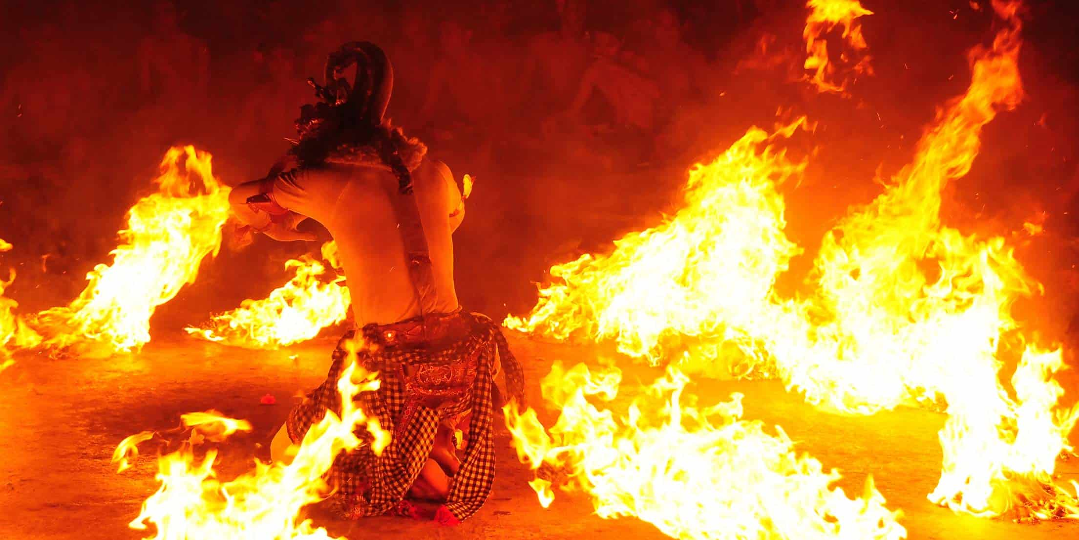 A tribal dance with fire in Bali