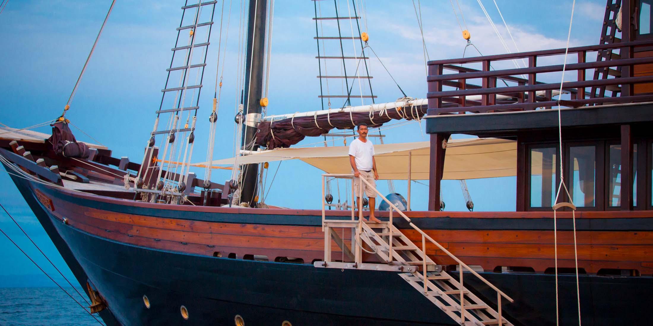 A man on board of Dunia Baru luxury superyacht